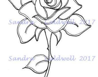 1596 Rose Digi Stamp