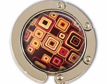 Purse Hook - Brown Geometric Design  Photo glass Cabochon