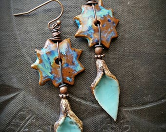 Clay, Ceramic, Discs, Copper, Wire Wrapped, Flowers, Organic, Rustic, Boho, Unique, Beaded Earrings