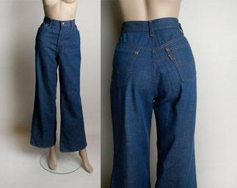 Vintage Levi's Orange Tab Jeans - 1970s High Waist Wide Leg Flare Jeans - Bell Bottom Style - 28 inch waist