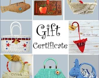 La Belle Vintage Gift Certificate ~ Choose your amount