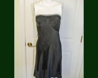 Vintage 1950's Black Rayon Seamprufe Strapless Woman's Slip