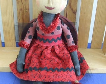 Primitive Folkart Lady Bug Doll