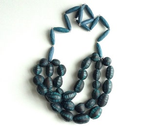 Statement necklace, Teal contemporary jewelry, hand carved necklace