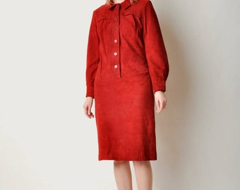 Vintage Red Suede Dress