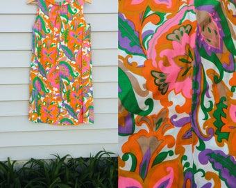 FAR OUT VintagE Psychedelic cotton print MOD 1960s spring summer frock twiggy dress