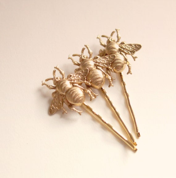 Bee hair pin set, Golden bees clips, Festival summer hair clips, Bee clips, Gold bobby pin gift set, swarm of bees - SMALL (set of 3)