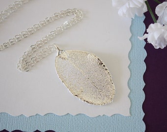 Real Silver Rose Leaf Necklace, Real Rose Silver Leaf, Real Rose Leaf Necklace, Rose Bush, Sterling Silver, LC76