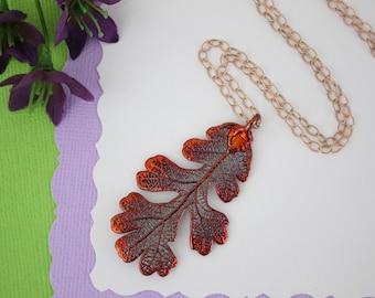 Copper Oak Leaf Necklace, Real Copper Leaf, Real Lacey Oak Leaf Necklace, Lacey Oak Leaf, Rose Gold Filled, LC179
