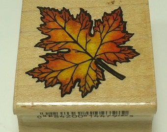 Maple Leaf 440D45 Wood Mounted Rubber Stamp By Stampcraft Thanksgiving, Fall
