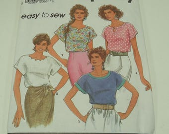 Simplicity Easy To Sew Misses' Pullover Tops With Neckline Variations Pattern 7768 Size  L - XL