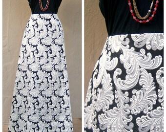 60s brocade maxi skirt / black silver textured metallic baroque print / high waisted A-line skirt / hostess holiday skirt / medium 30 waist