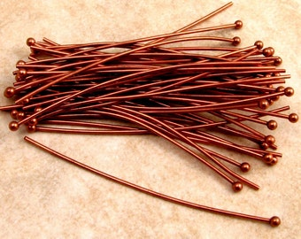 2 Inch Ball Headpins, Antique Copper, 20 Gauge, 50 Pc. AC142