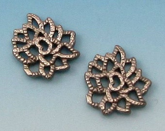 Matte Silver Rhodium Tiny Lotus Charm, 2 Pieces, AS350