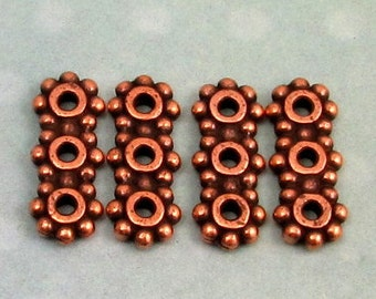 TierraCast 6MM Beaded Heishi 3 Hole Bar, Link, Connector, Antique Copper, 4 Pc. TC61