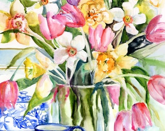 tulip and daffodil still life-  watercolor spring flower print-  watercolor floral art- tulip painting- botanical spring flower print-