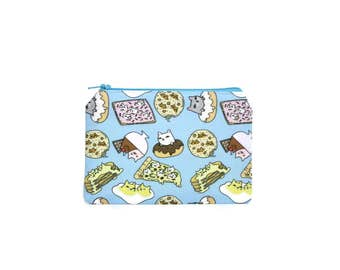 CHOOSE SIZE Foodie Cats Make Up Bag / Small Zipper Pouch in Kitty Donut Pizza Snacks Pancakes