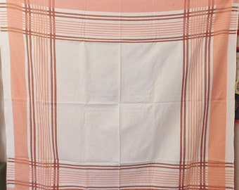 Vintage Tablecloth in Pink and White Picnic Plaid Vintage 1920's Vtg 1930's Thick Woven Table Cloth Small Tablecloth Square Tablecloth
