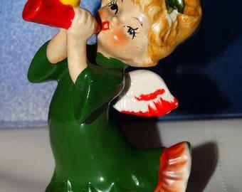 Vintage Lefton, 2543, Christmas Angel, Trumpet, Yellow Bird, Christmas, Ceramic Figurine, 4 inches, Made in Japan, Lefton Circa 1950's
