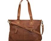 Leather Handbag Purse Bag distressed vintage leather Tan
