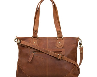 Leather Handbag Purse Bag, distressed vintage leather, Tan