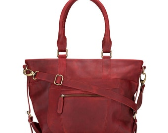 Leather Zip Pocket Purse Bag distressed leather, Oxblood red