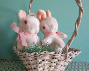 2 Vintage Small Stuffed Easter Bunnies with Red Glass Eyes White Rabbits