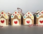 ONE Gingerbread House Christmas Tree Ornament Ceramic little red door ooak