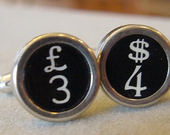 Vintage Typewriter key Cuff links DOLLAR and BRITISH POUND  Men's CuffLinks Money Cuff links typewriter key jewelry