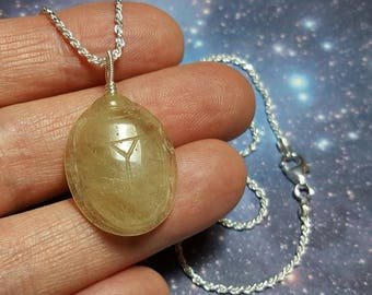 Rare SCARAB Libyan Desert Glass Tektite Meteorite Impact Glass (From Egypt) Carving Pendant 20 Inch Sterling Silver Chain Necklace RARE