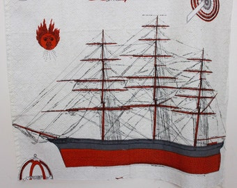 "vintage nautical fabric / sailing ships printed cotton textile / two panels 24"" x 31.5"" each"