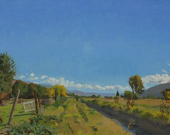 Ditch Trail with Cululus Clouds Over the Cascades and Siskiyous: Original Oil Painting Plein Air Landscape
