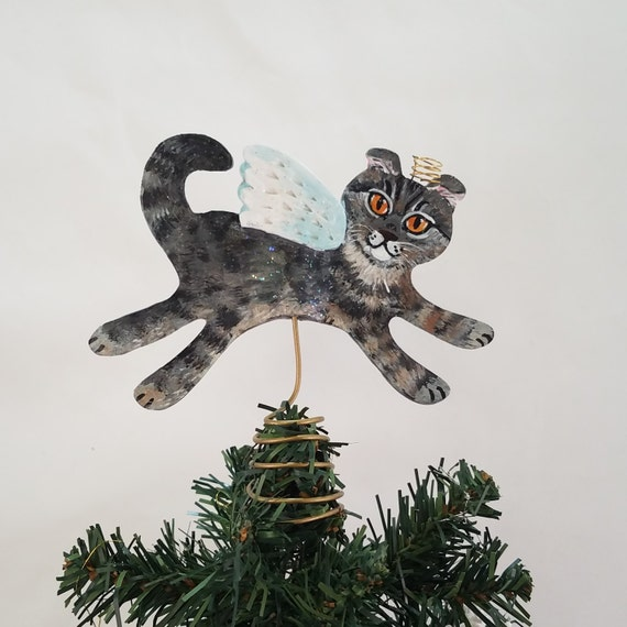 Cat Angel Christmas Tree Topper: CAT TREE TOPPER Scottish Fold Angel Cat Mini Tree Topper