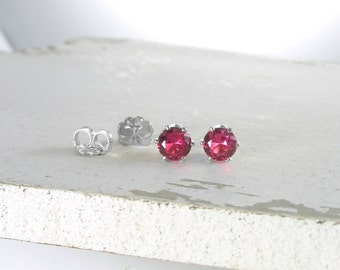 Silver Stud Earrings Ruby Stud Earrings July Birthstone Earrings Pink Ruby Earrings Stud Earrings Birthstone Jewelry Holiday Gift For Her