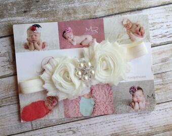 Double Shabby Flower Newborn Ivory Rhinestone Baby Toddler Infant Headband