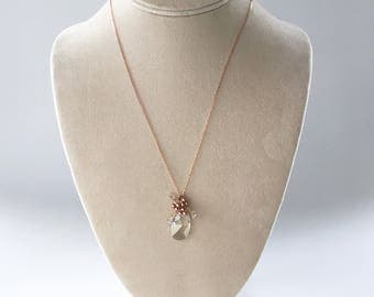 Bouquet, bridesmaids necklace with rose gold pearl and silver shade crystal, Free Shipping to USA