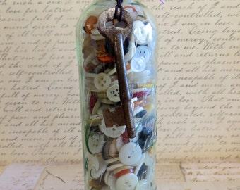 Coca Cola Bottle With Vintage Buttons & Skeleton Key-Vintage Decor