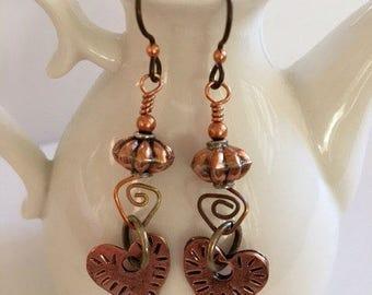 Copper Dangle Earrings-Copper Heart Earrings