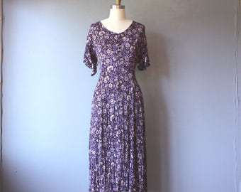 vintage 90s corset dress / purple floral crinkle dress / flutter sleeves / size 8