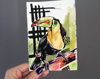 Painting of a Toucan by Artist Jen Tracy - Affordable Original Art - Art Under Fifty Dollars - Tropical Bird Painting in Watercolor