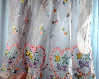 Vintage Sheer Pink Flocked Nylon Half Apron - Fuzzy Flowers in Pink Yellow Pulple and Blue