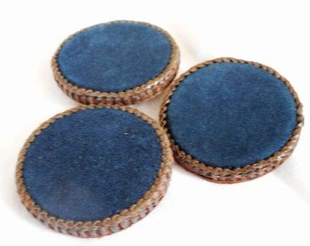 Set of 3 VINTAGE Very Large Blue Suede & Stitched Leather BUTTONS