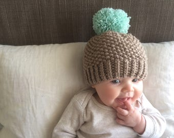 Knit Baby Pom Pom Hat | Teal and Brown Knit Hat | Baby Boy | Baby Girl