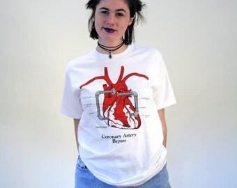 80s Heart T-Shirt M, Medical Illustration T-Shirt, Coronary Artery Bypass Tee, Heart Ventricle Tee, Heart Art Tee, Heart Surgery T-Shirt