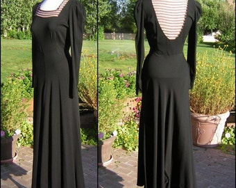 Vintage 30s 40s Gown Black Crepe with Daring Beaded Sheer Ladder Back Film Noir Drama Size Small