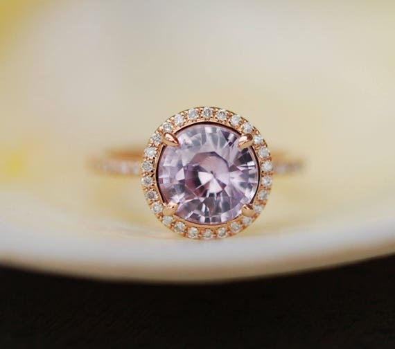 Rose gold engagement ring lavender purple mauve sapphire diamond ring 14k rose gold round sapphire ring by Eidelprecious