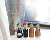 SALE! Wooden Peg Dolls Pilgrims and Indians // Thanksgiving Wooden Toys // Fair Trade Kids Gifts // Waldorf Peg Dolls Modern - Wooden Toys