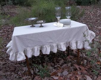 Ruffled Linen Tablecloth White Ruffled Tablecloth Custom Sizes Wedding Decorations Table Decor Ruffled Tablecloth Linen Table Cloth Handmade