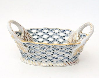 Small Blue & White Porcelain Open Weave Basket with Metallic Gold Detailing by Andrea by Sadek