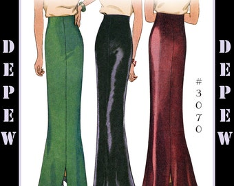 Vintage Sewing Pattern Reproduction Ladies' 1930's Evening Skirt #3070 Multi-size/ Plus Size - INSTANT DOWNLOAD